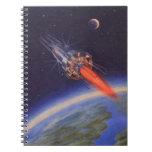Ciencia ficción del vintage Rocket en espacio sobr Cuadernos