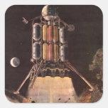 Ciencia ficción del vintage Rocket que arruina del Calcomanías Cuadradases