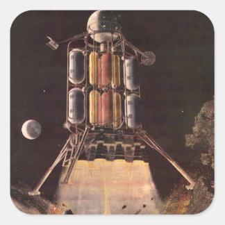 Ciencia ficción del vintage Rocket que arruina del Calcomanías Cuadradas Personalizadas