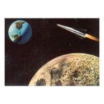 Ciencia ficción del vintage Rocket sobre la tierra Comunicados Personalizados