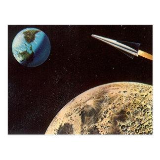 Ciencia ficción del vintage Rocket sobre la tierra Postal