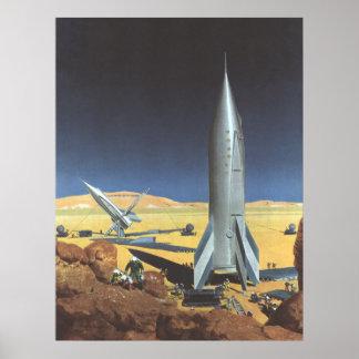 Ciencia ficción del vintage Rockets en el planeta Posters