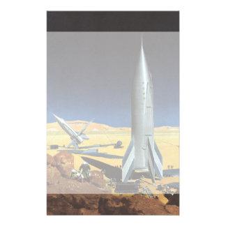Ciencia ficción del vintage Rockets en el planeta Papeleria De Diseño
