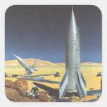 Ciencia ficción del vintage Rockets en el planeta  Pegatina Cuadradas