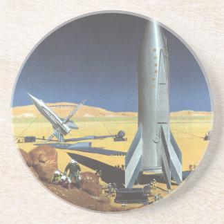 Ciencia ficción del vintage Rockets en el planeta Posavasos Manualidades