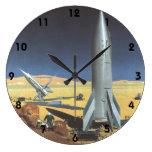 Ciencia ficción del vintage Rockets en el planeta Reloj Redondo Grande