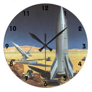 Ciencia ficción del vintage Rockets en el planeta Reloj