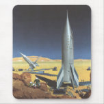 Ciencia ficción del vintage Rockets en el planeta  Alfombrillas De Ratón