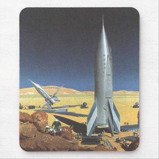 Ciencia ficción del vintage Rockets en el planeta Tapete De Ratones