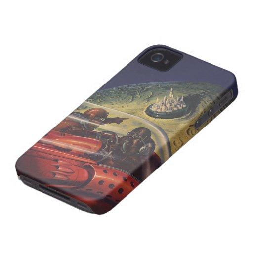 Ciencia ficción del vintage, Sci fi, ciudad lunar  iPhone 4 Case-Mate Cárcasas