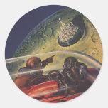 Ciencia ficción del vintage, Sci fi, ciudad lunar  Pegatinas