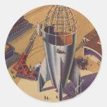 Ciencia ficción del vintage, Sci Fi, construyendo  Etiquetas Redondas