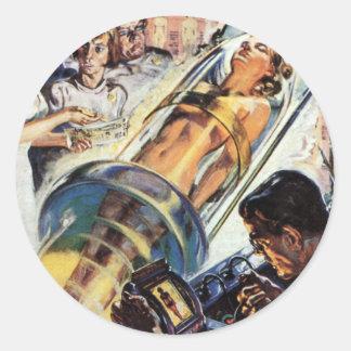 Ciencia ficción del vintage, Sci Fi, experimento Pegatina Redonda