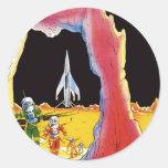 Ciencia ficción del vintage, Sci Fi, luna extranje Etiqueta