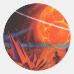 Ciencia ficción del vintage, Sci Fi, planeta Pegatina Redonda
