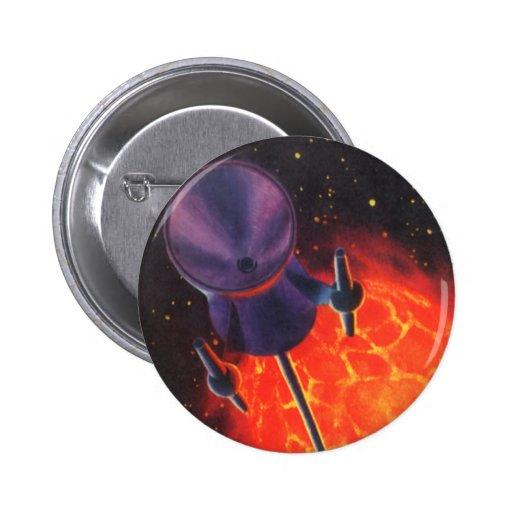 Ciencia ficción del vintage, Sci Fi Rocket, Pin Redondo De 2 Pulgadas