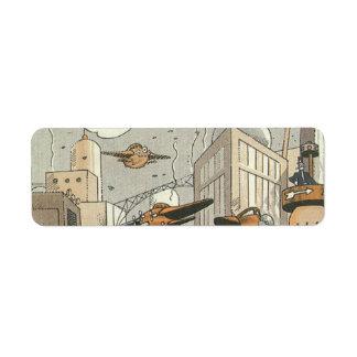 Ciencia ficción del vintage Steampunk París urbana Etiquetas De Remite