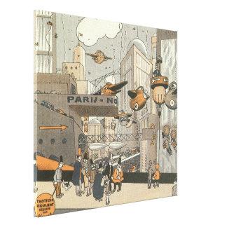 Ciencia ficción del vintage Steampunk París urbana Impresión En Lienzo Estirada