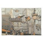Ciencia ficción del vintage Steampunk París urbana Manteles Individuales