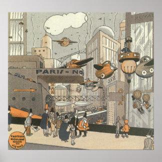 Ciencia ficción del vintage Steampunk París urbana Impresiones
