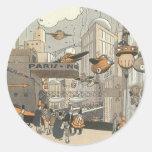 Ciencia ficción del vintage Steampunk París urbana Etiquetas Redondas