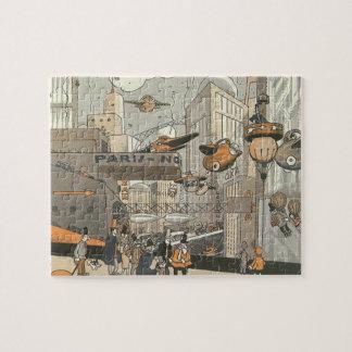 Ciencia ficción del vintage Steampunk París urbana Puzzles Con Fotos