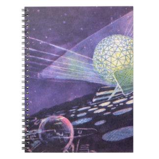 Ciencia ficción del vintage, un orbe que brilla libreta espiral