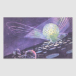 Ciencia ficción del vintage, un orbe que brilla pegatina rectangular