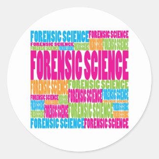Ciencia forense colorida pegatinas redondas