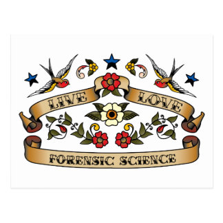 Ciencia forense del amor vivo postal