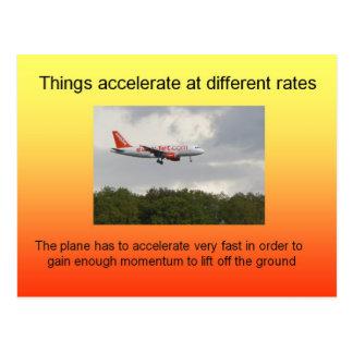Ciencia, la física, índices de aceleración postal