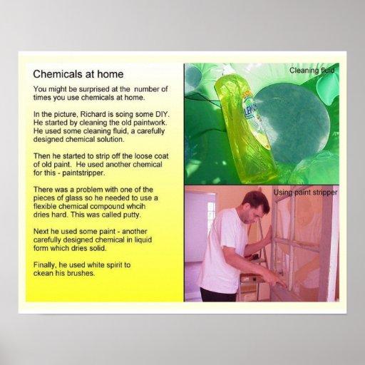 Ciencia, química, sustancias químicas en casa posters