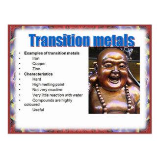 Ciencia, reactividad, metales de transición postales