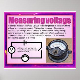 Ciencia, voltaje de medición de la electricidad póster