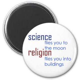 ciencia y religión imán de frigorífico