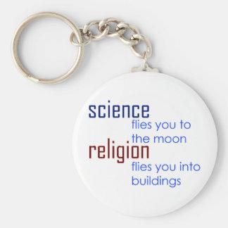 ciencia y religión llaveros personalizados