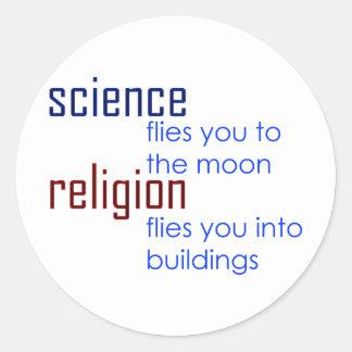 ciencia y religión etiquetas redondas