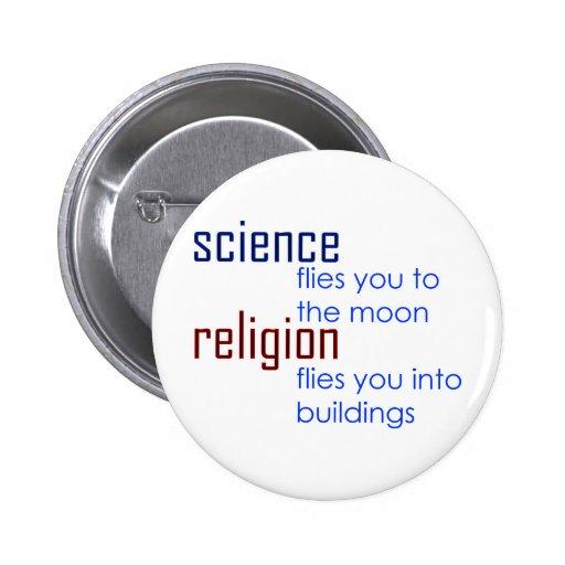 ciencia y religión pin redondo 5 cm