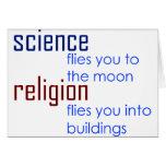ciencia y religión tarjeta de felicitación