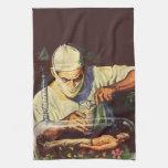 Científico de la ciencia ficción del vintage en la toalla de mano