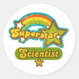 Científico de la superestrella pegatina redonda