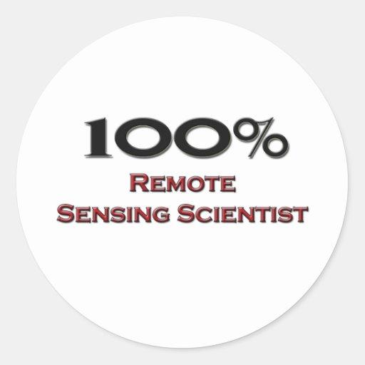 Científico de la teledetección del 100 por ciento pegatina redonda