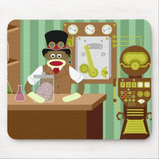 Científico de Steampunk del mono del calcetín Alfombrilla De Raton