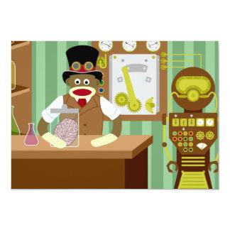 Científico de Steampunk del mono del calcetín Invitación 12,7 X 17,8 Cm