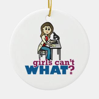 Científico del chica adorno navideño redondo de cerámica