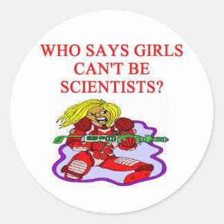 científico del friki del chica pegatinas redondas