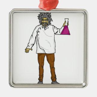 Científico enojado 2 adorno navideño cuadrado de metal