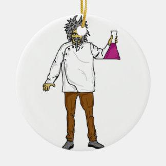 Científico enojado 2 adorno navideño redondo de cerámica