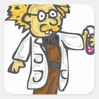 Científico enojado 3 pegatina cuadrada