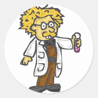 Científico enojado 3 pegatina redonda